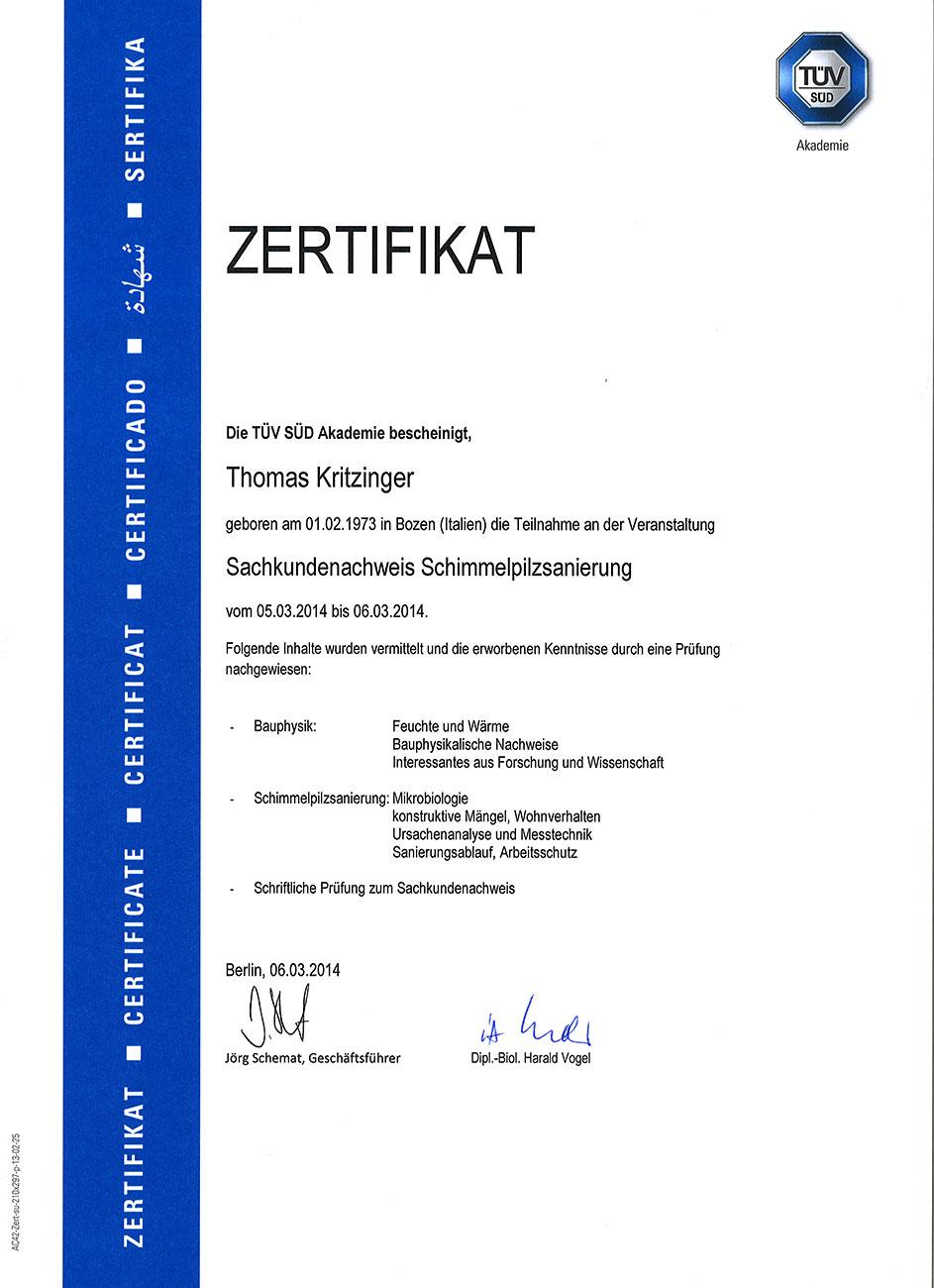 Zertifikat für Schimmelpilzsanierung